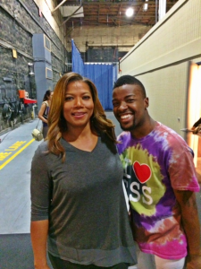 Dwayne (Robbie) Dean beams with excitement when he meets Queen Latifah before a CSS performance on the show