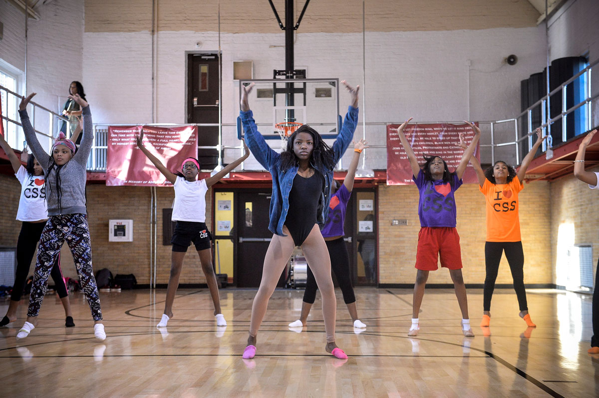 Nyari Pitts, 17, leads a section during a practice of the Camden Sophisticated Sisters dance group at the Neighborhood Center on Kaighn Ave. in Camden, NJ, March 24, 2016. Charles Mostoller for the Inquirer
